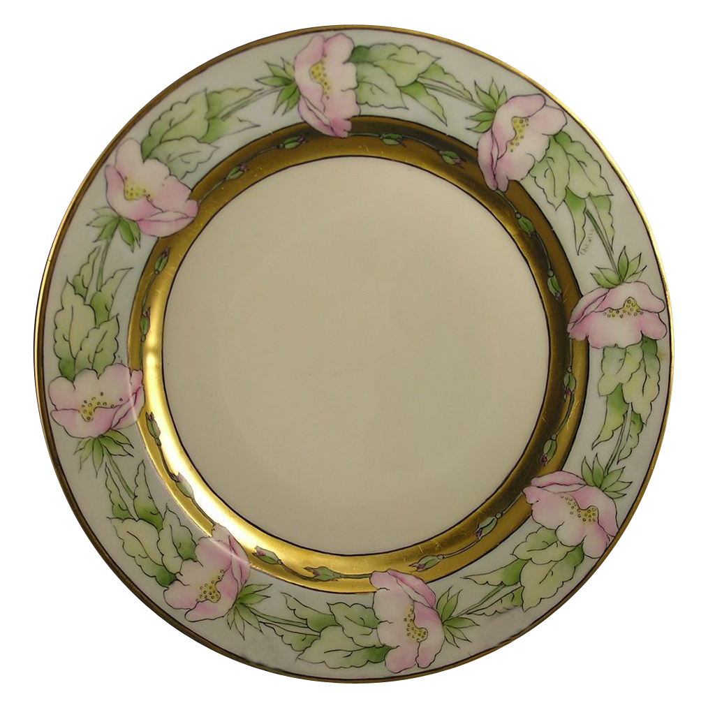 "Haviland Limoges Pink Poppy Motif Plate (Signed ""C. Johnson""/c.1984-1931)"