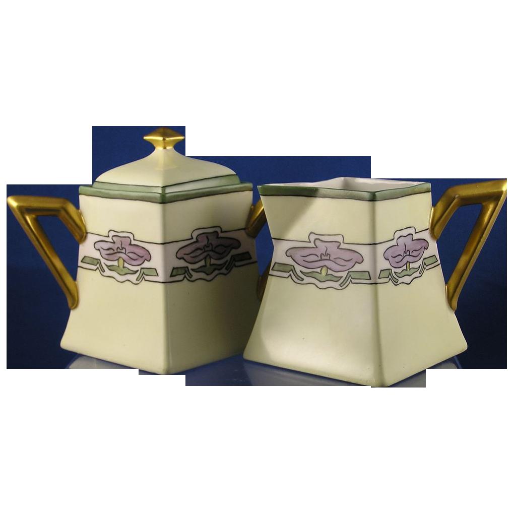 """Delinieres & Co. (D&Co.) Limoges Art Deco Purple Flower Creamer & Sugar Set (Signed """"June Saxmann""""/c.1894-1900)"""