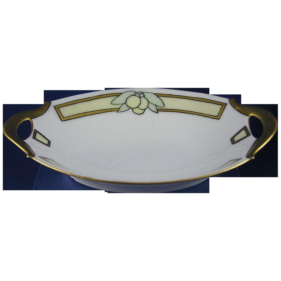 "Bavaria Arts & Crafts Lemon Motif Small Handled Dish (Signed ""R.""/c.1910-1930)"