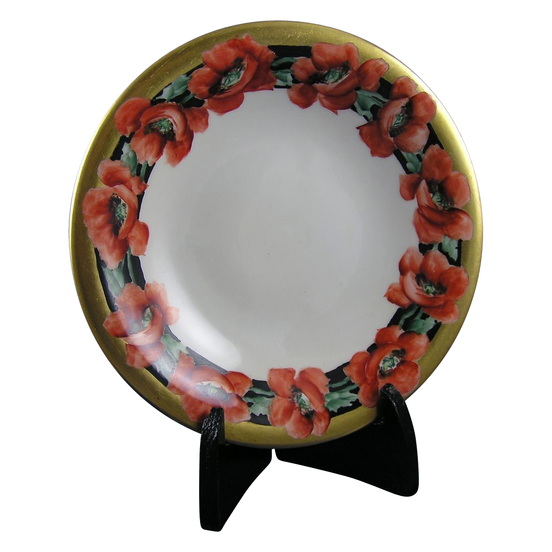 "Hohenzollern Germany Poppy Motif Footed Dish (Signed ""L. Anna Stark""/c.1920-1940)"