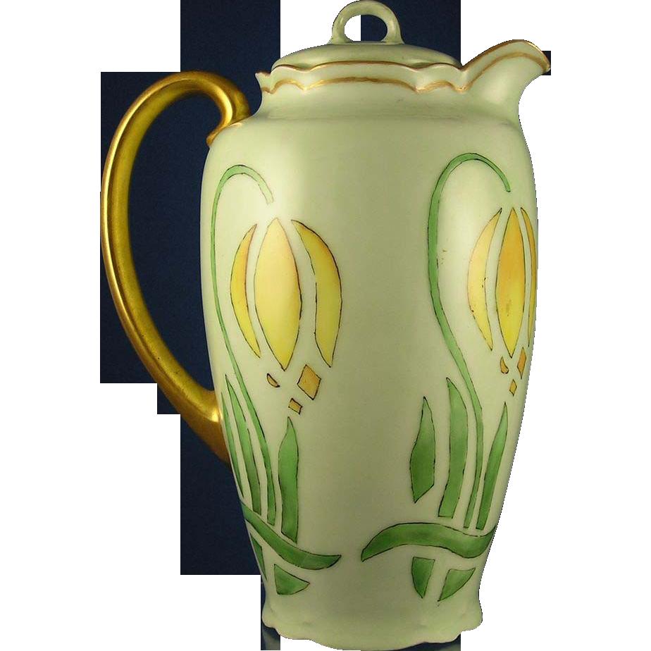 "Bavaria Arts & Crafts Tulip Motif Coffee Pot (Signed ""M. Ryan""/c.1900-1940)"