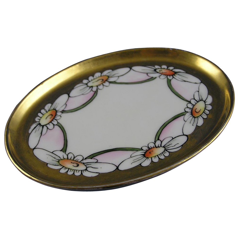 T&V Limoges Arts & Crafts Daisy Motif Pin Dish (c.1892-1907)
