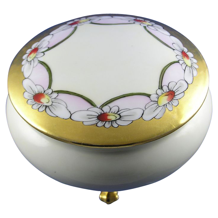 Moritz Zdekauer (MZ) Austria Arts & Crafts Daisy Motif Covered Footed Dish/Dresser Jar (c.1884-1909)