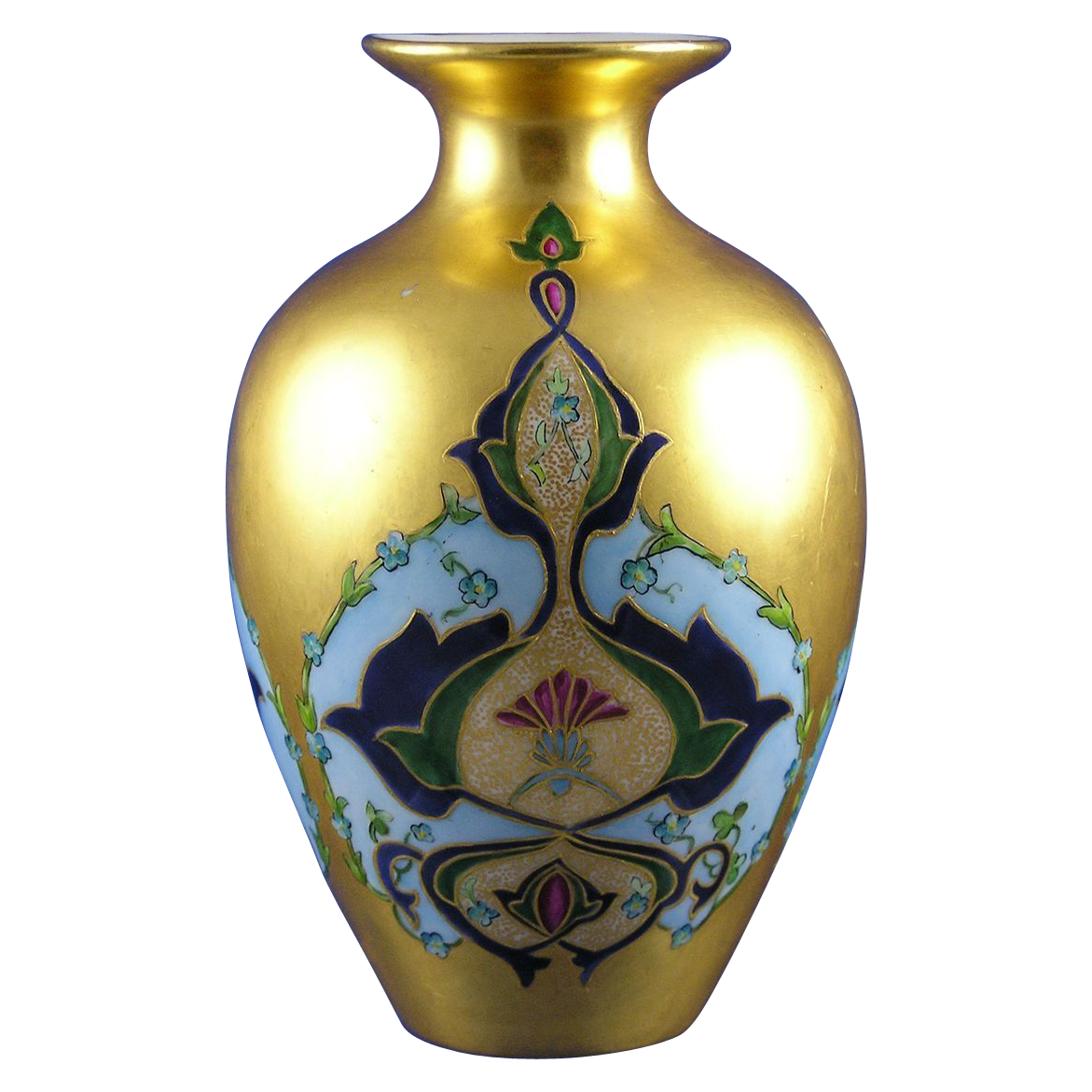"Art Nouveau Gold Floral Motif Vase (Signed ""M.L. Leary""/Dated 1901)"