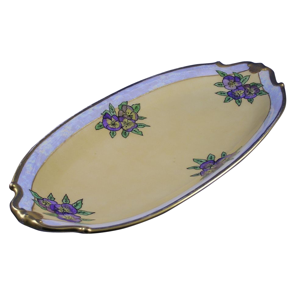 "Bernardaud & Co. (B&Co.) Limoges Arts & Crafts Pansy Motif Serving Tray (Signed ""E.G. Dougall""/c.1918-1930)"