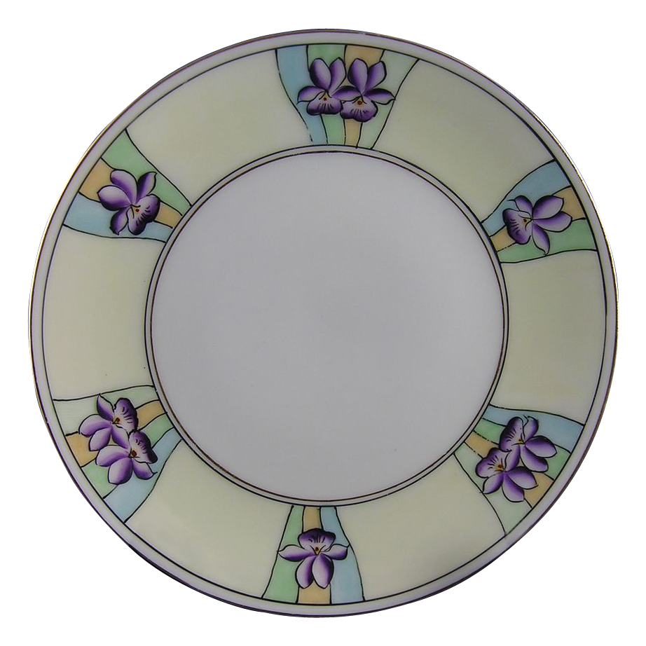 Thomas Bavaria Stouffer Studios Art Deco Violet Motif Plate (c.1906-1914)