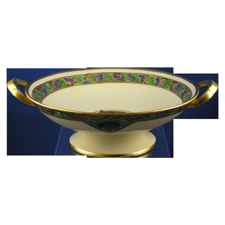 "Bavarian Blank Arts & Crafts Grapes Motif Pedestal Bowl (Signed ""J. O'Brien""/Dated 1923)"