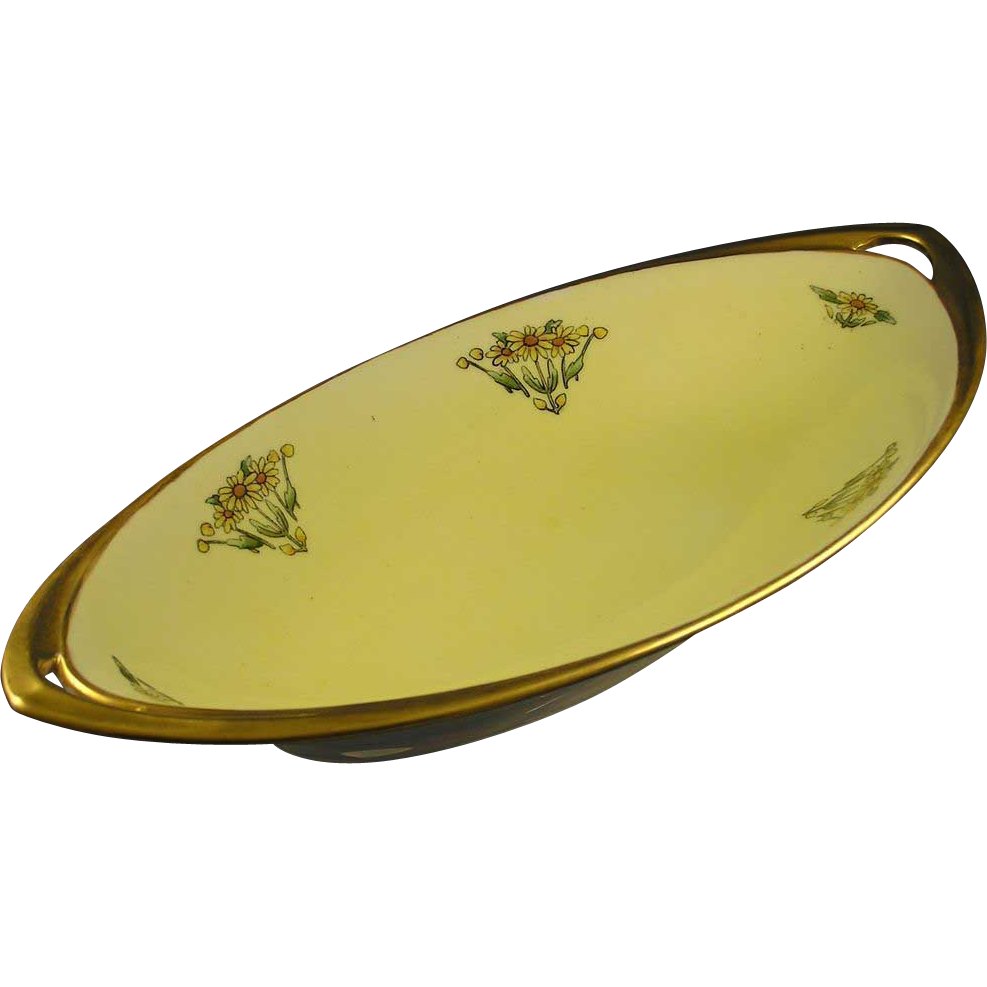"Bavarian Blank Arts & Crafts Daisy Motif Serving Dish (Signed ""Kapp""/c.1910-1930)"