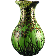 Amphora Austria Ernst Wahliss Arts & Crafts Leaves & Floral Motif Vase (c.1899-1910)