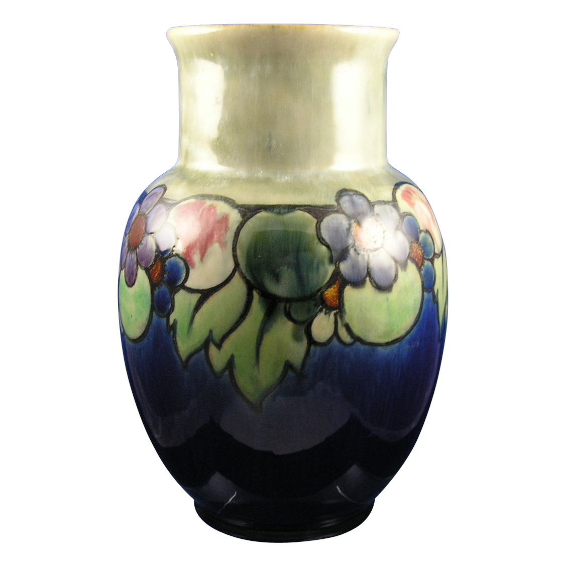 "Large Royal Doulton Arts & Crafts Fruit Motif Vase (Signed ""Maud Bowden""/c.1923-1927)."