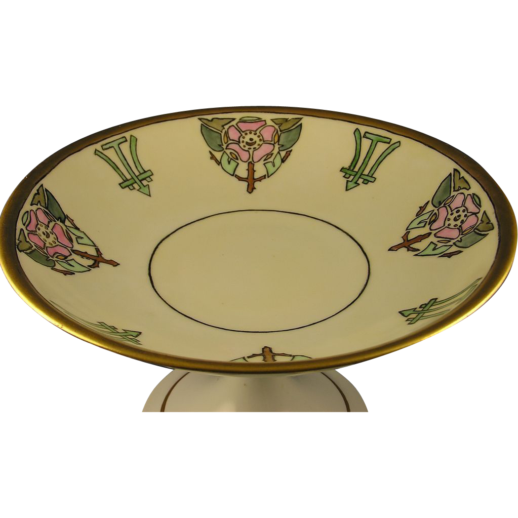 Porcelain Limousine (PL) Limoges Arts & Crafts Rose Motif Pedestal Dish (c.1913-1930) - Keramic Studio Design