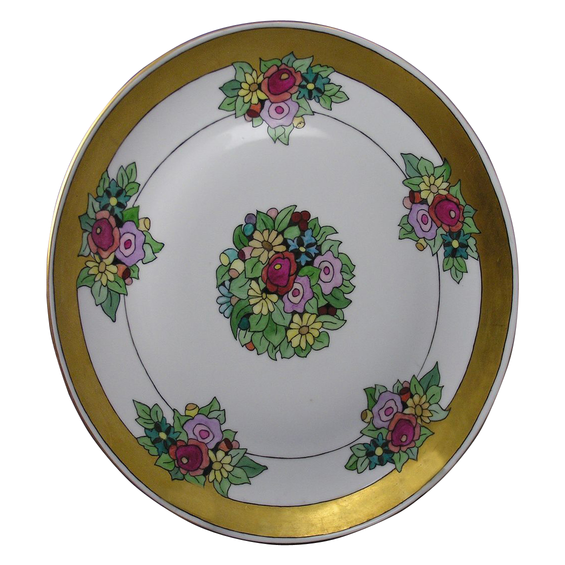"Arts & Crafts Floral Charger/Plate (Signed ""Helen O'Brien""/Dated 1925)"