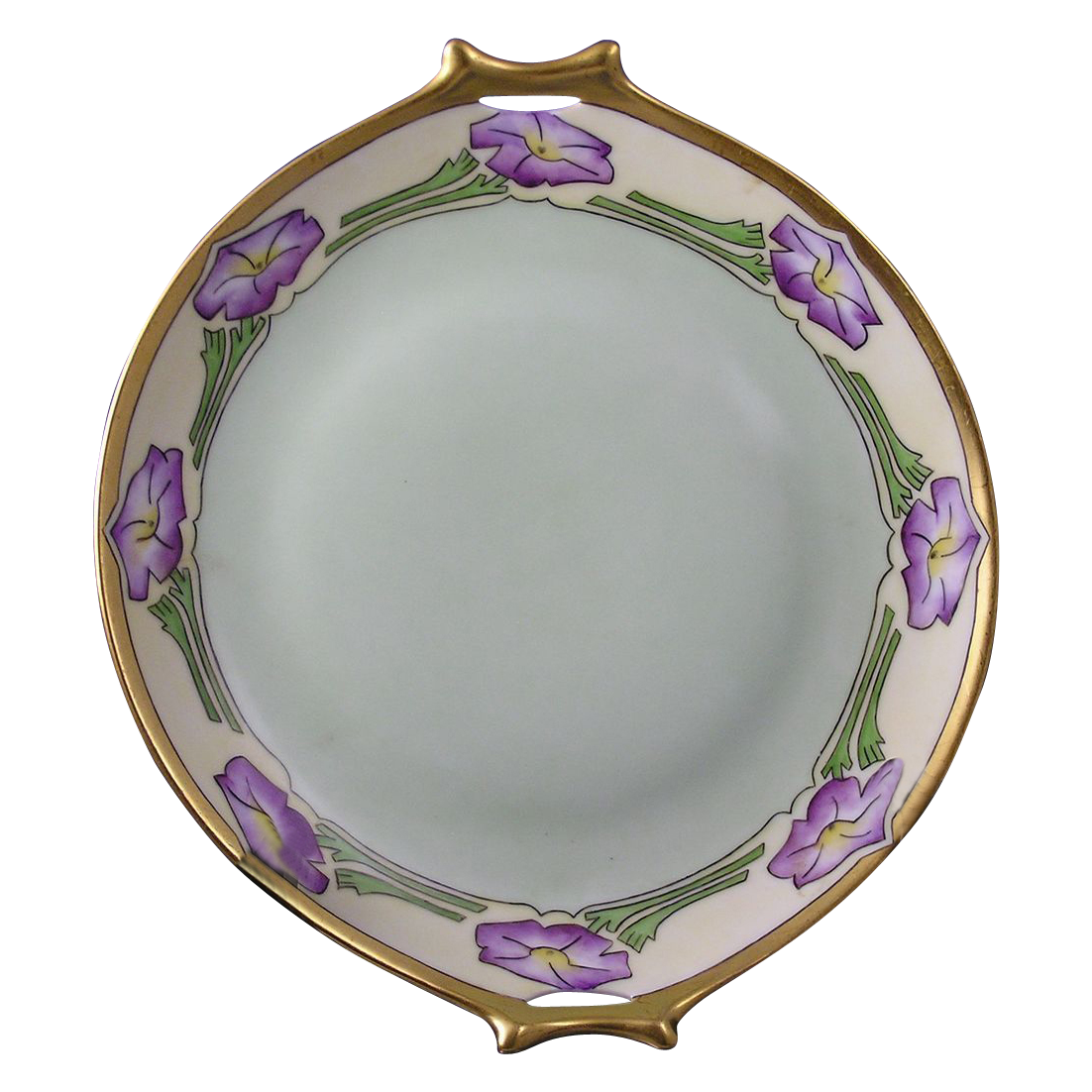 "Hutschenreuther Selb Bavaria Arts & Crafts Floral Motif Handled Plate (Signed ""M.S.T.""/c.1910-1930)"