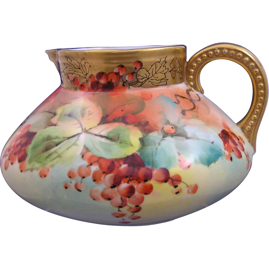 "Bavaria Currant Motif Pitcher (Signed Stouffer Studios Artist ""Mentges""/c.1914-1920)"