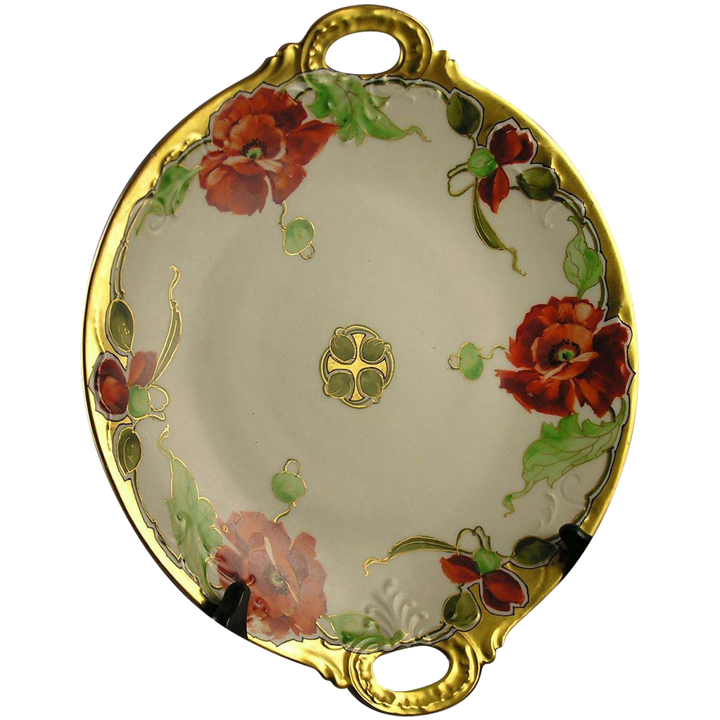 "Stouffer Studios Jean Pouyat (JP) Limoges Poppy Motif Handled Plate (Signed ""ED"" for Edward Donath/c.1905-1906)"