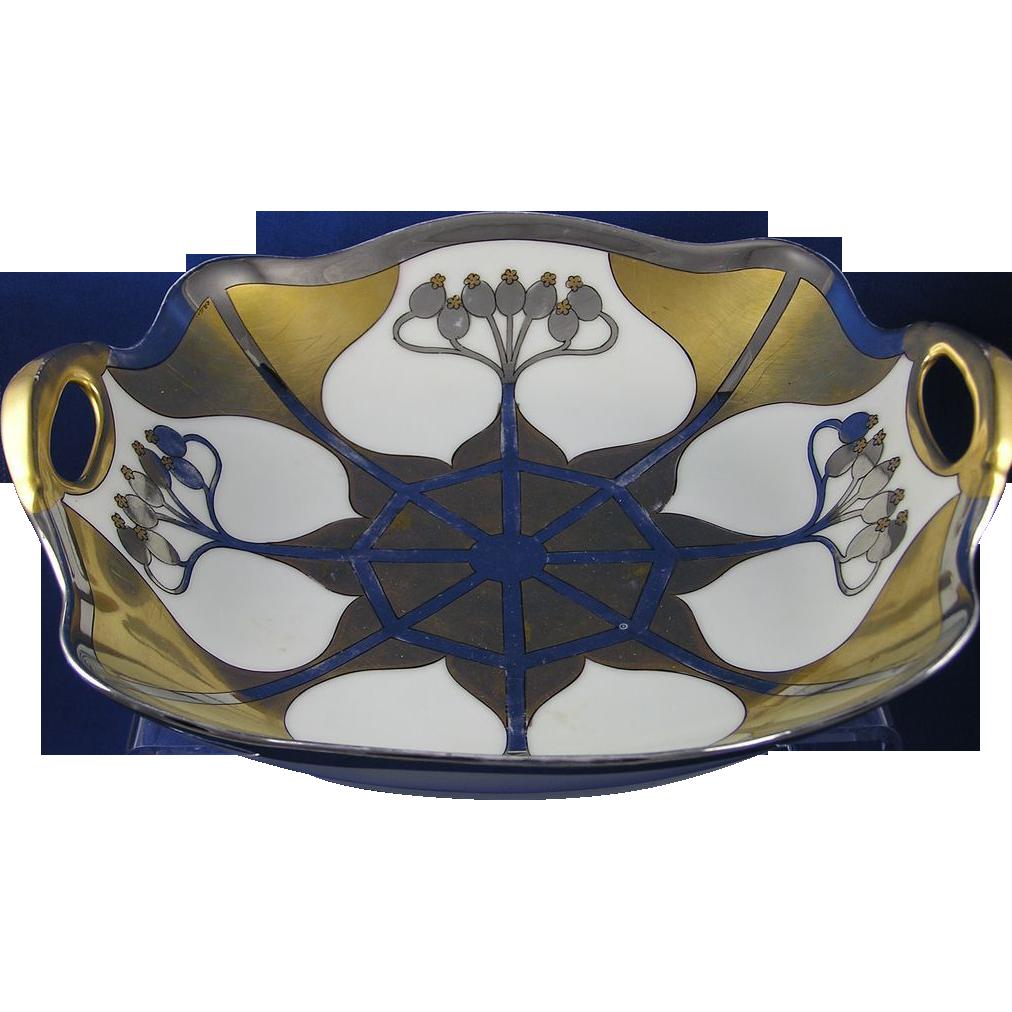 "Pickard Studios ""Aura Argenta"" Design Handled Bowl (Signed ""Otto Podlaha""/c.1912-1918)"