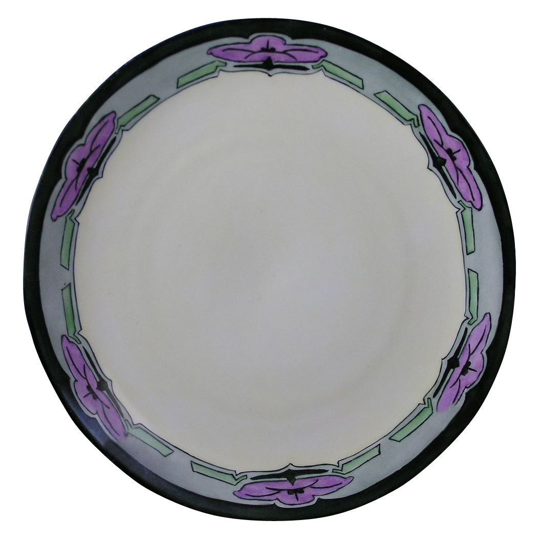 "Oscar & Edgar Gutherz (O&EG) Austria Arts & Crafts Floral Motif Plate (Signed ""A. Andrews""/Dated 1911)"