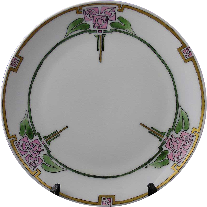 "Thomas Bavaria Arts & Crafts Glasgow Rose Motif Plate (Signed ""S. Rasmussen""/Dated 1915) - Keramic Studio Design"