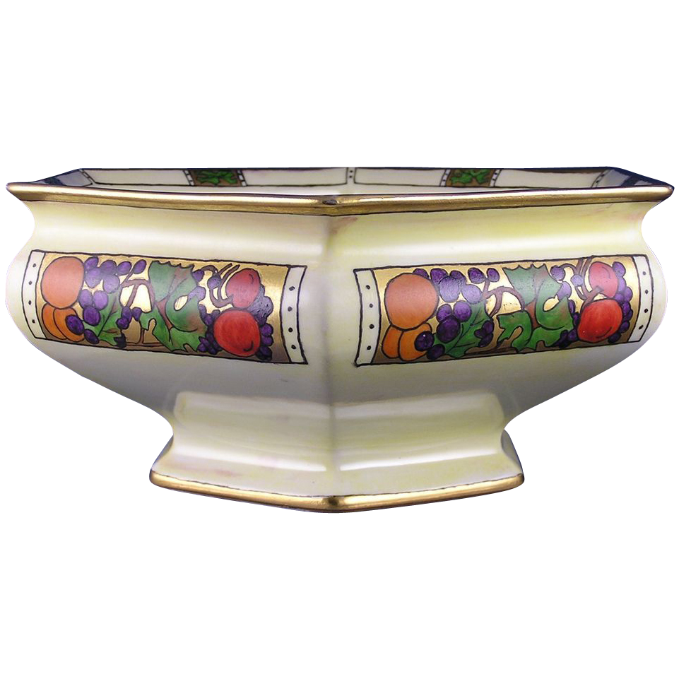 "Bernardaud & Co. (B&Co.) Art Deco Fruit Motif Centerpiece Bowl (Signed ""Winnie Dunn""/Dated 1921)"