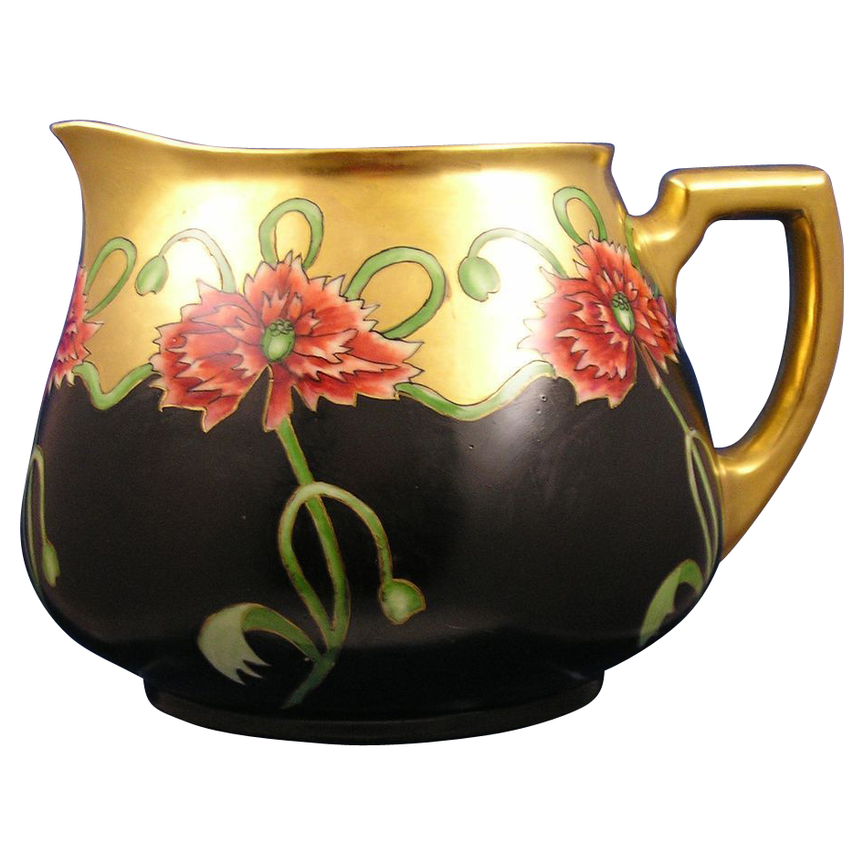 "William Guerin & Co. (WG&Co.) Limoges Red Floral Motif Pitcher (Signed ""M. Keeler""/Dated 1911)"