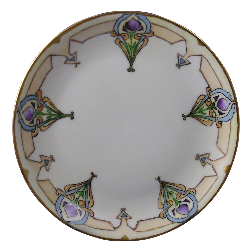 Hutschenreuther Selb Bavaria Arts & Crafts Floral Motif Plate (Signed/Dated 1914)