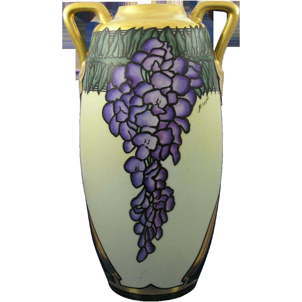 "Large Epiag Czechoslovakia Arts & Crafts Wisteria Motif Vase (Signed ""M. Langan""/c.1918-1936)"