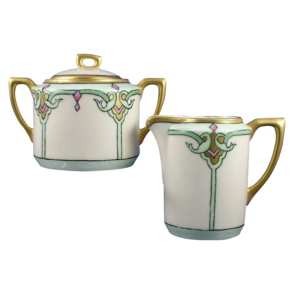 C. Teilsch (CT) Altwasser Bavaria Arts & Crafts Creamer & Sugar (c.1875-1934)