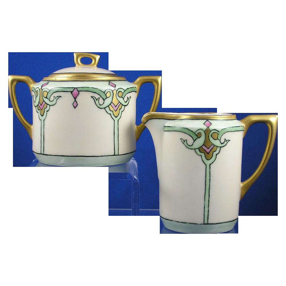 C. Teilsch (CT) Altwasser Bavaria Arts & Crafts Creamer & Sugar (c.1875-1934)