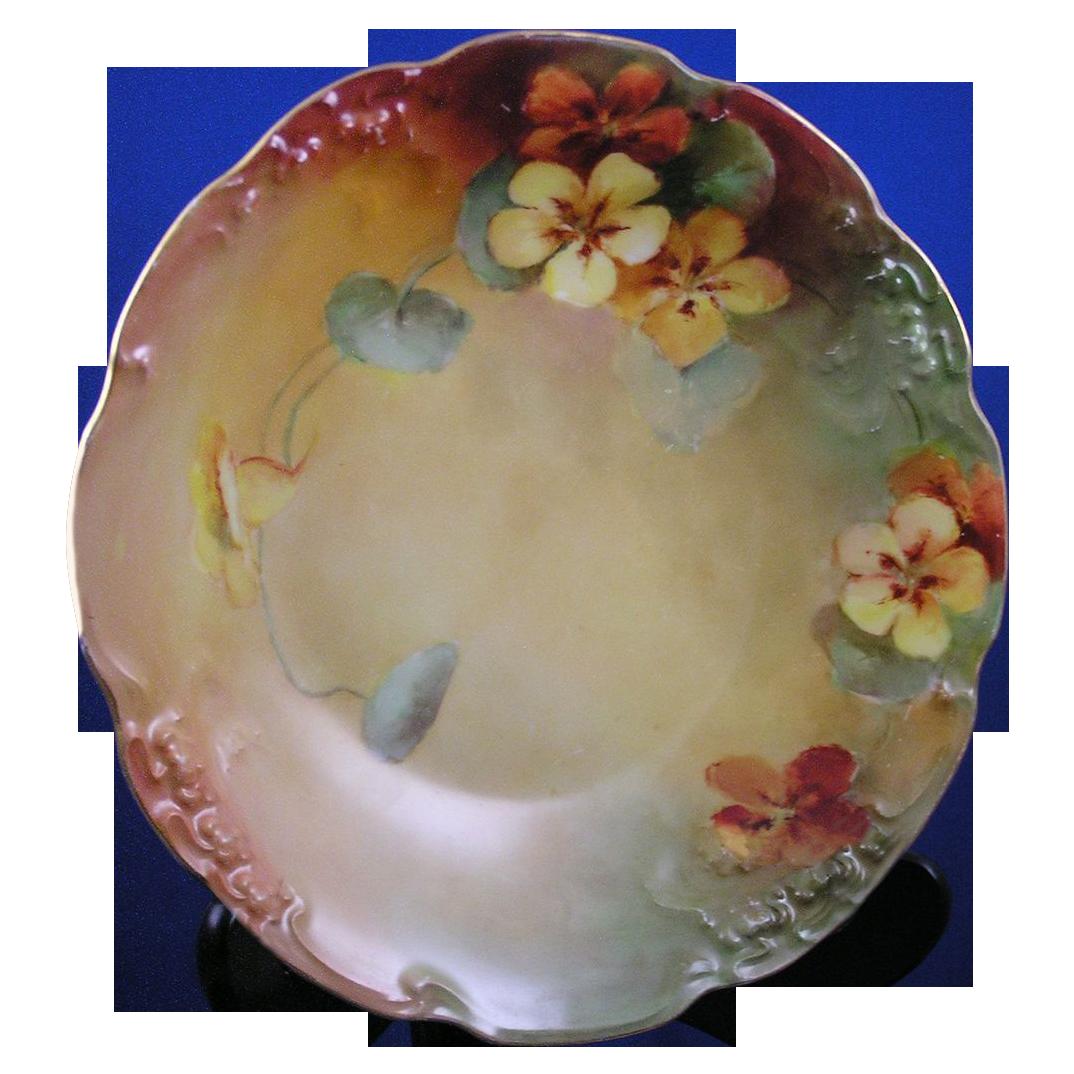 """Jean Pouyat (JP) Limoges Nasturtium Motif Bowl (Signed """"Maley""""/c.1890-1932)"""