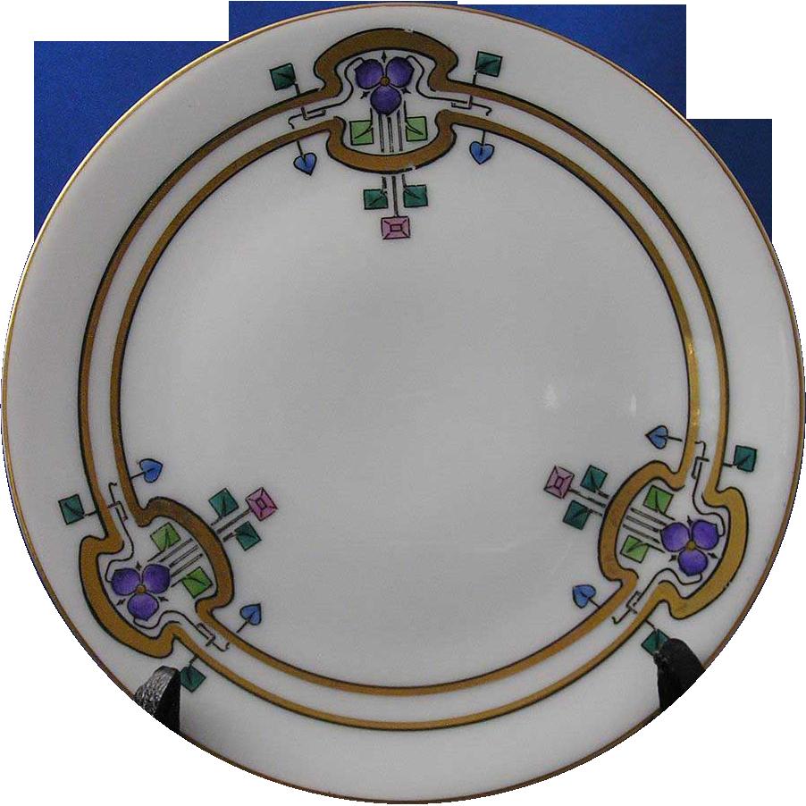 "Thomas Bavaria Arts & Crafts Iris Motif Plate (Signed ""Brinsmaid's Studio""/c.1908-1930)"