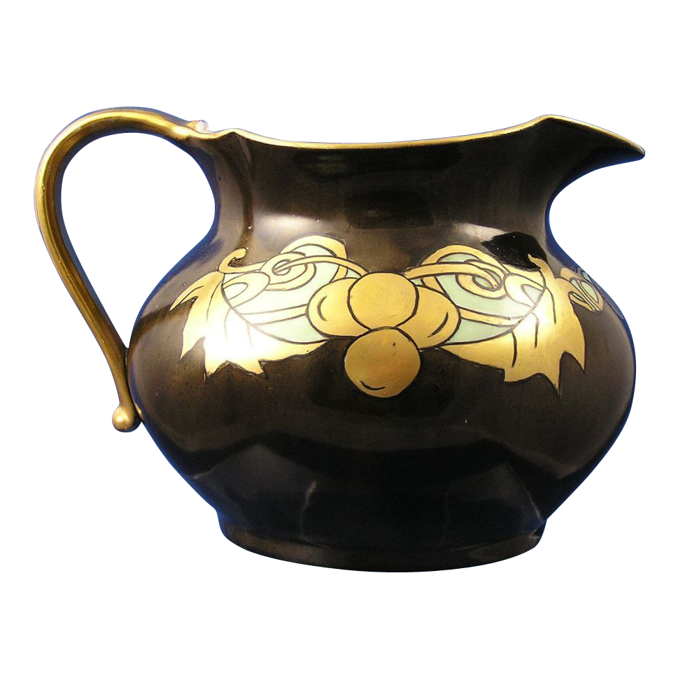 Jean Pouyat (JP) Limoges Arts & Crafts Brown & Gold Pitcher (c.1890-1932)