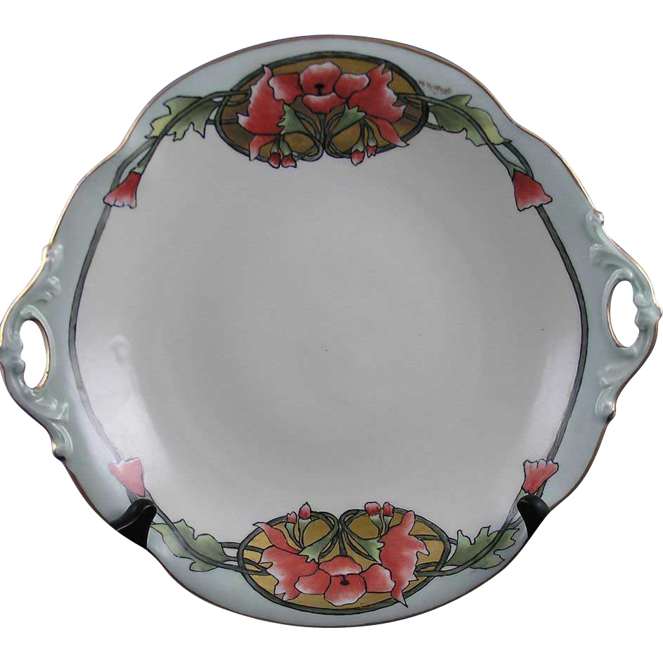 "Bernardaud & Co. (B&Co.) Limoges Arts & Crafts Floral ""Wild Hollyhock"" Motif Handled Bowl (Signed ""M. McHugh""/c.1914-1930)"