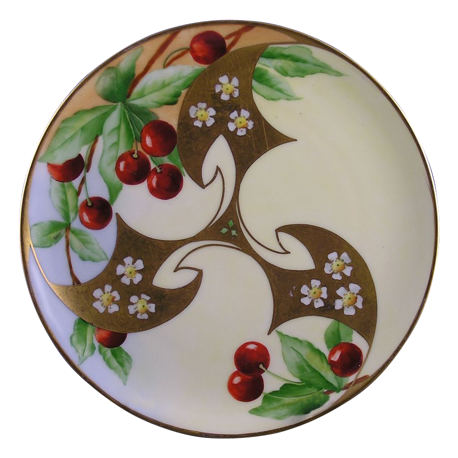 Haviland Limoges White's Art Company Chicago Cherry Motif Plate (c.1914-1923)