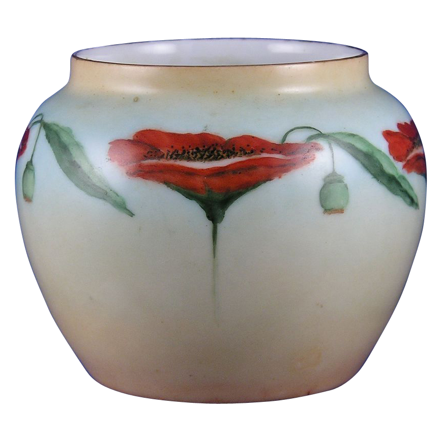 "Oscar & Edgar Gutherz (O&EG) Austria Poppy Motif Vase (Signed ""Nichols""/c.1899-1918)"