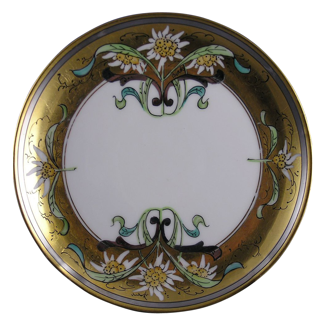 "Stouffer Studios Haviland Limoges ""Edelweiss"" Design Plate (Signed ""Bardos"" for Isadore Bardos/c.1906-1914)"