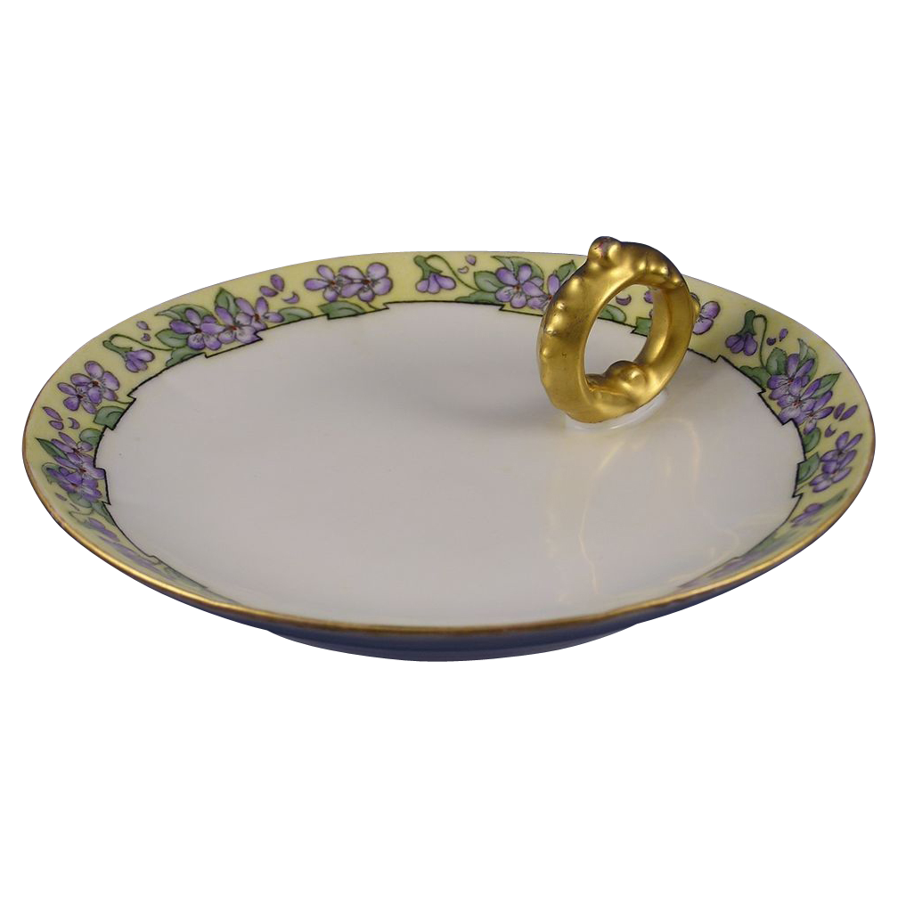 "Vignaud Limoges Violet Motif Lemon Server (Signed ""Kavanagh""/c.1911-1938)"