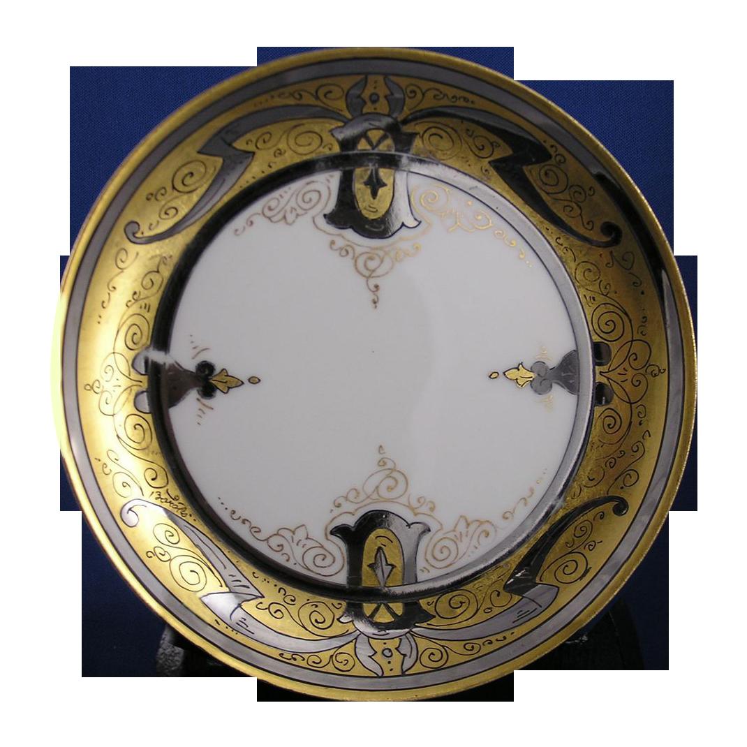 """Stouffer Studios Haviland Limoges """"Gold & Platinum Scroll"""" Design Plate (Signed """"Bardos"""" for Isadore Bardos/c.1906-1914)"""