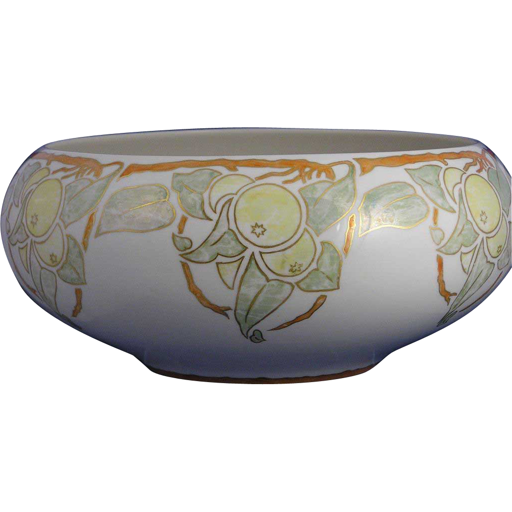 "Willets Belleek Arts & Crafts Citrus Motif Centerpiece Bowl (Signed ""R.K.""/c.1912-1920) - Keramic Studio Design"