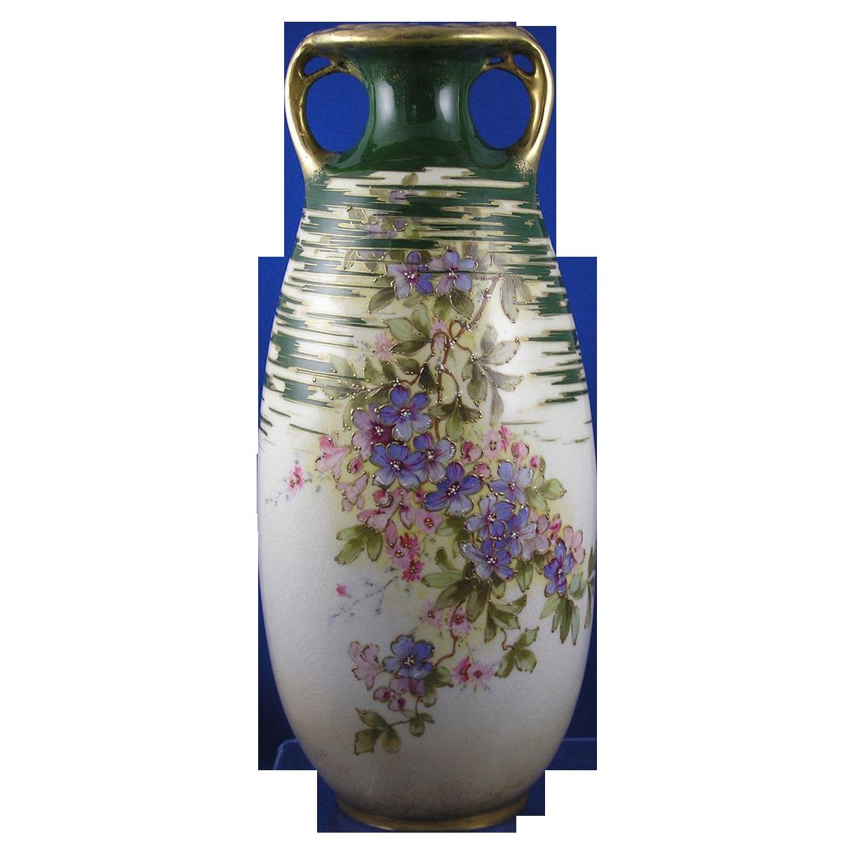 Large RStK Amphora Austria Art Nouveau Floral Motif Vase (c.1899-1910)