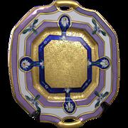 """Pickard Studios """"Encrusted Linear"""" Pattern Daisy Motif Handled Plate (Signed """"Hessler"""" for Robert Hessler/c.1912-1918)"""
