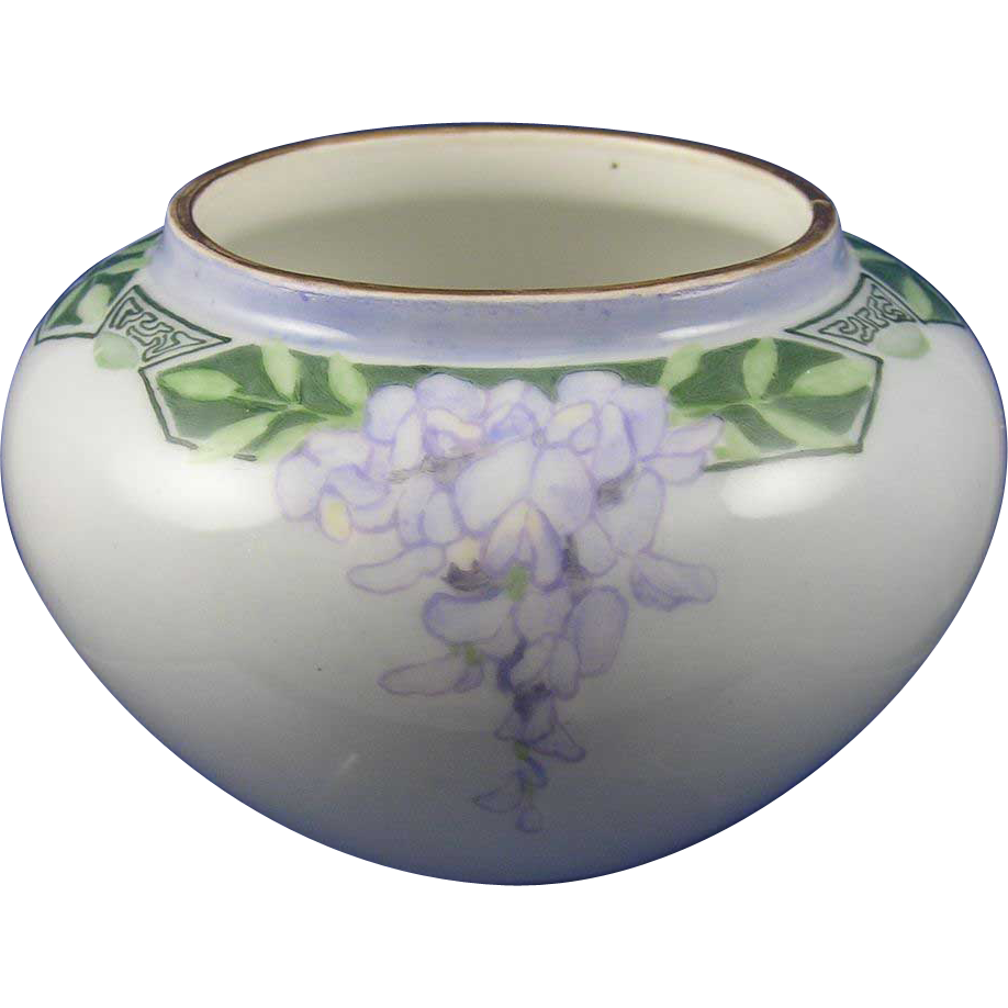 William Guerin & Co. (WG&Co.) Limoges Arts & Crafts Wisteria Motif Vase (c.1900-1932)