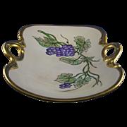 "Bernardaud & Co. (B&Co.) Limoges Arts & Crafts Grape Motif Handled Bowl (Signed ""ACS""/c.1900-1914)"