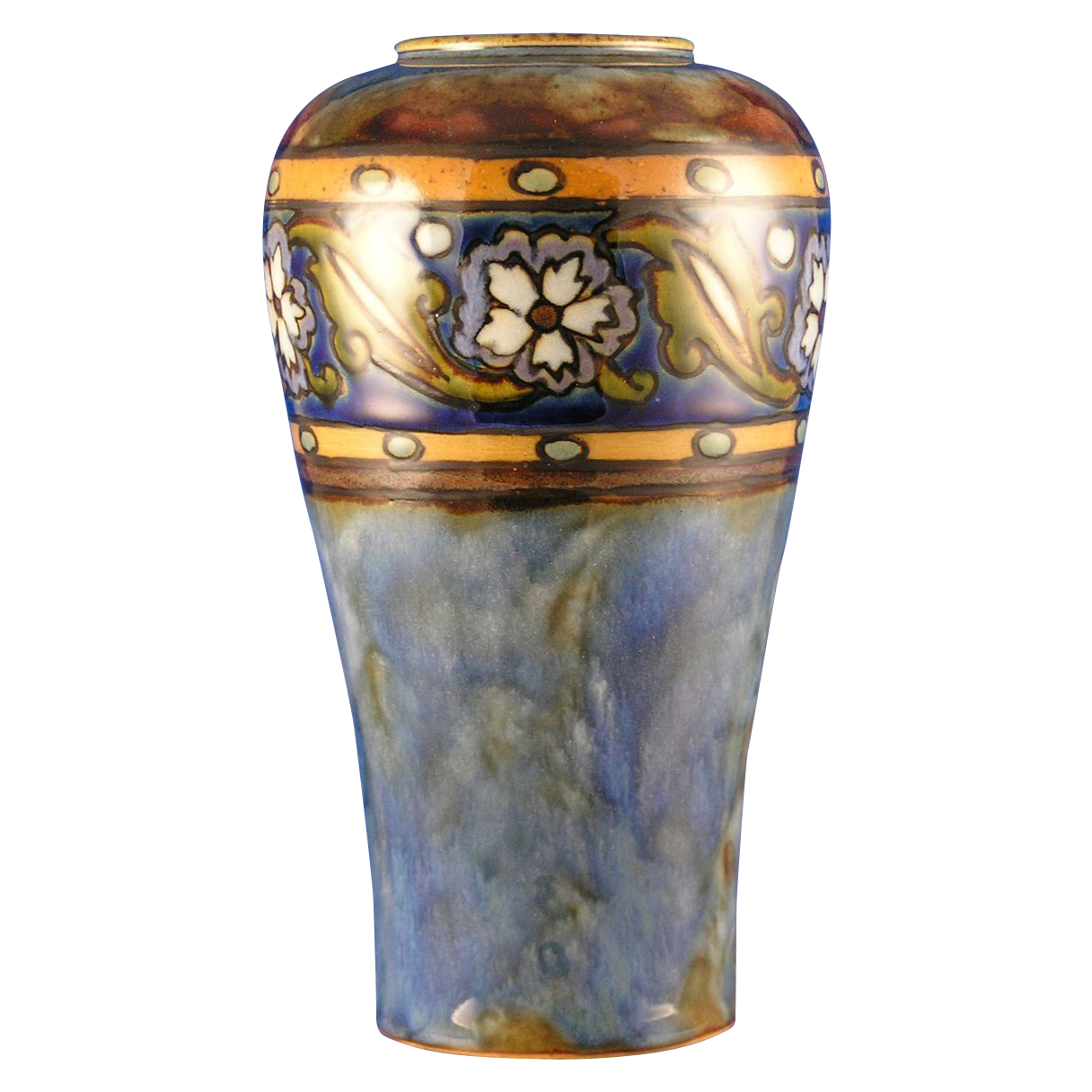 Royal Doulton Arts & Crafts Floral Motif Vase (Signed John Huskinson/c.1923-1927)