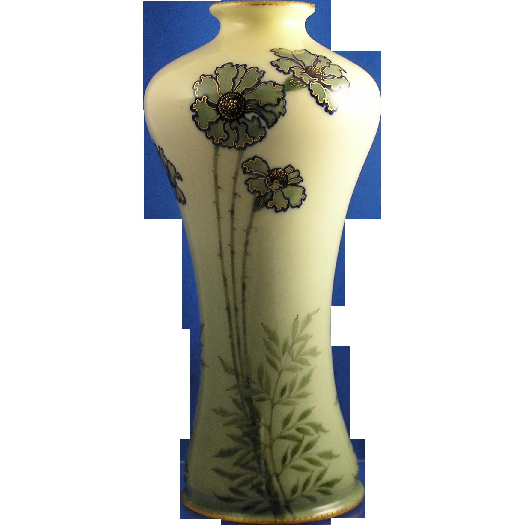 Amphora Austria Ernst Wahliss Arts & Crafts Blue & Green Floral Vase (c.1900-1918)