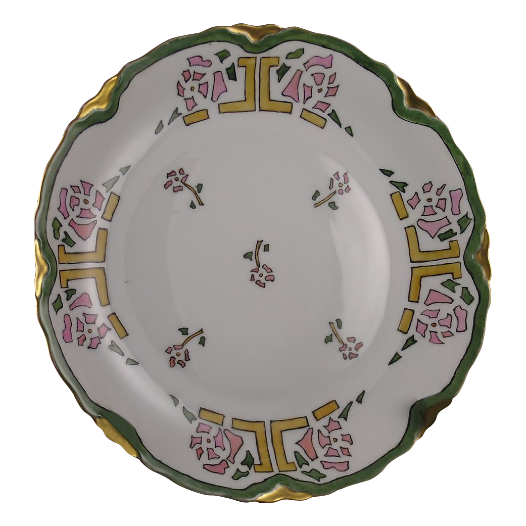 "Heinrich & Co. (H&Co.) Selb Bavaria Arts & Crafts Rose Motif Plate (Signed ""Hattie Calely""/c.1900-1920)"