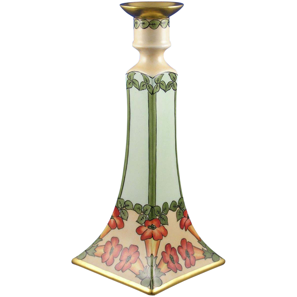 Delinieres & Co. (D&Co.) Limoges Arts & Crafts Trumpet Vine Motif Candlestick (c.1894-1900)