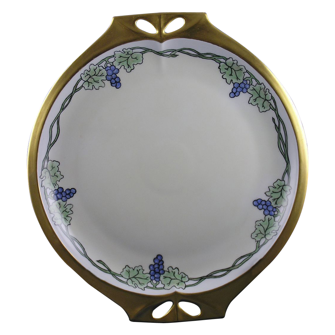"Hutschenreuther Bavaria Arts & Crafts Grape Motif Handled Plate (Signed ""A.C.S.""/c.1920-1940)"