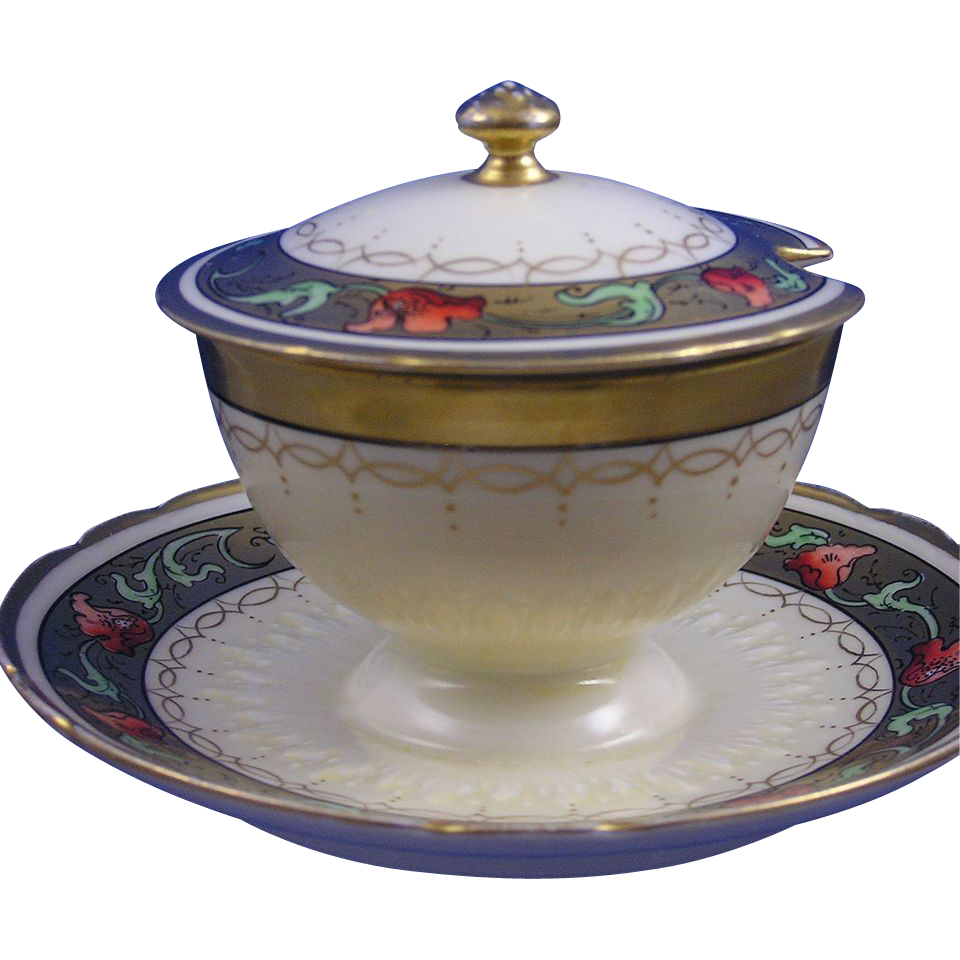 "Gerard, Dufraisseix & Abbot (GDA) Limoges Pickard Studios ""Tomascheko Poppy Border"" Design Covered Condiment Dish (c.1905-1910)"