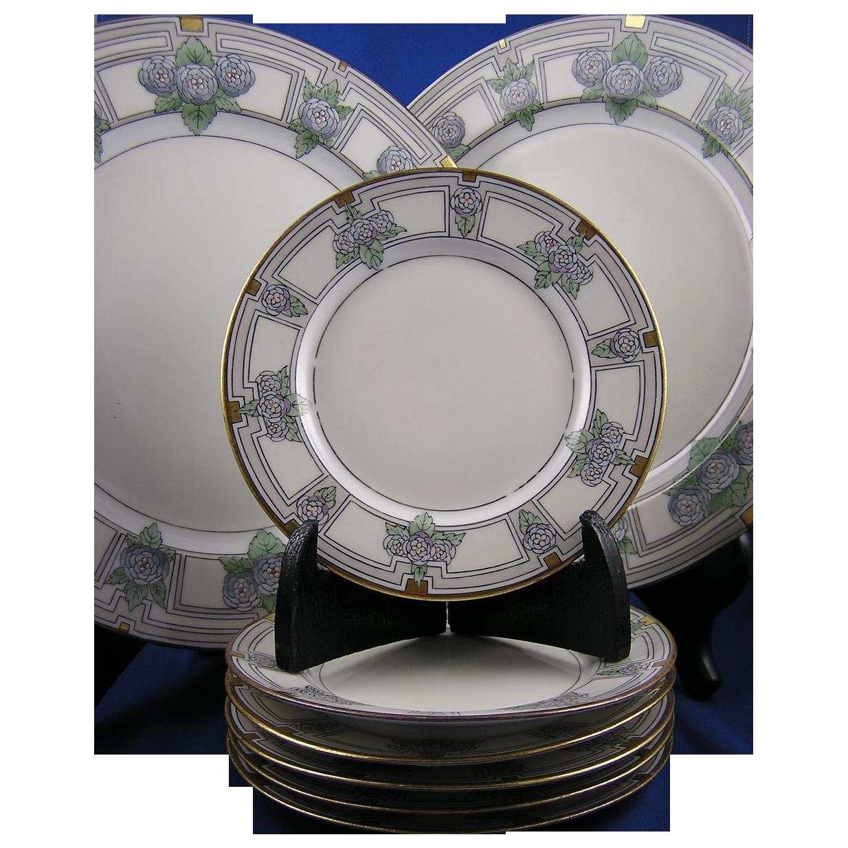 """Porcelain Limousine (PL) Limoges Enameled Floral Design Plate Set (8 pcs) (Signed """"Carol Lyon""""/Dated 1918)"""