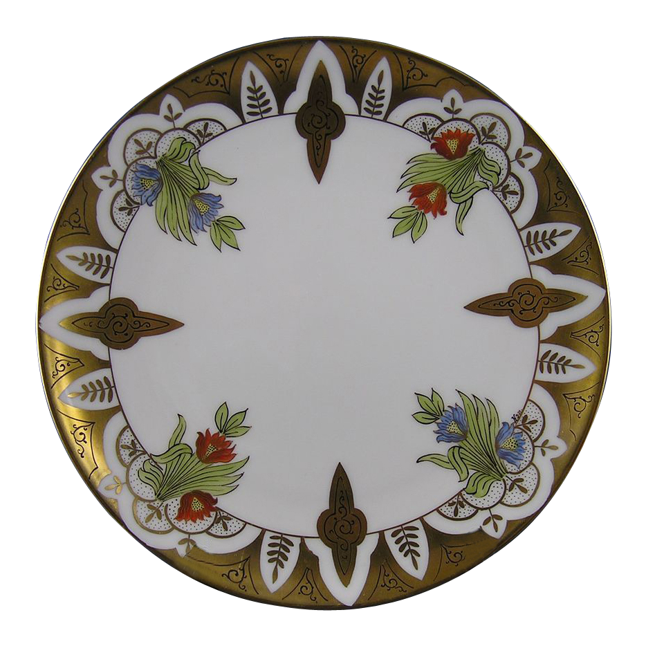 "Haviland Limoges Stouffer Studios Floral Motif Plate (Signed ""Hon."" for Ethel R. Honey/c.1906-1914)"